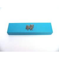 Papillon Motif on Turquoise Wooden Pen Box with 2 Pens