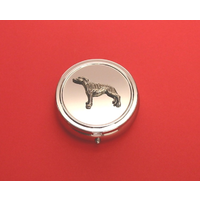 Greyhound Pewter Motif On Round Chrome Mint / Pill Box