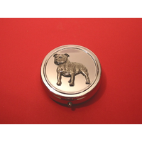 Staffie Terrier Pewter Motif On Round Chrome Mint / Pill Box