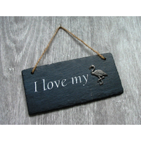 Flamingo Design Slate Plaque Valentine Christmas Gift