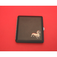 Dachshund Motif on Black Faux Leather Cigarette Case