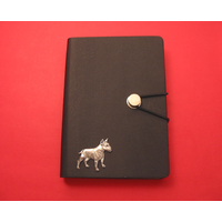 English Bull Terrier A6 Black Journal Notebook Dog Gift