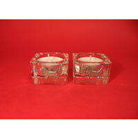 Basset Hound Motif On Square Glass Tea Light Holders Xmas Gift
