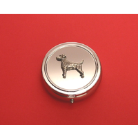Jack Russell Pewter Motif On Round Chrome Mint / Pill Box