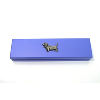 Basset Hound on Violet Blue Wooden Pen Box with 2 Pens