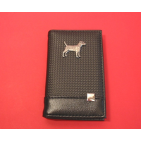 Patterdale Terrier on Faux Carbon Fibre Black Note book & Pen