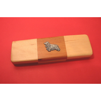 Cocker Spaniel on Wooden Pen Box with 2 Pens