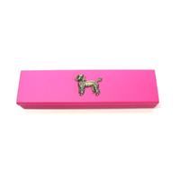 Poodle Dog Motif on Pink Wooden Pen Box with 2 Pens