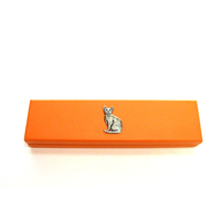 Short Haired Cat Motif on Apricot Wooden Pen Box with 2 Pens