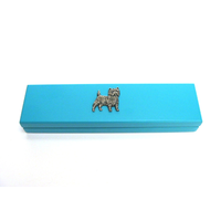 Cairn Terrier Motif on Turquoise Wooden Pen Box with 2 Pens