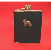 King Charles Spaniel 6oz Black Leather Hip Flask Dog