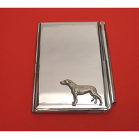 Greyhound Dog Chrome Notebook & Pen Card Holder