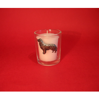 Golden Retriever Motif On Glass Votive Candle Holder Xmas Gift