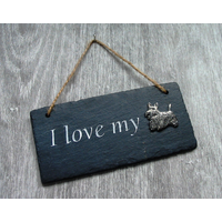 Scottish Terrier Design Slate Plaque Valentine Christmas Gift