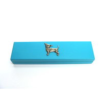 Chihuahua Motif on Turquoise Wooden Pen Box with 2 Pens