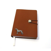 Greyhound Dog A6 Tan Journal Notebook Dog Gift