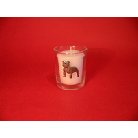 Staffie Bull Terrier Motif On Glass Votive Candle Holder Gift