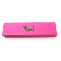 Basset Hound Motif on Pink Wooden Pen Box with 2 Pens