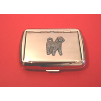 Cockapoo Motif on Polished Stainless Steel Tobacco Tin