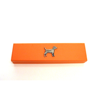 Patterdale Terrier on Apricot Wooden Pen Box with 2 Pens