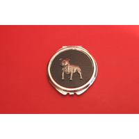 Staffordshire Bull Terrier on Black Round Compact Mirror