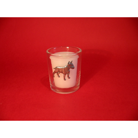 English Bull Terrier Motif On Glass Votive Candle Holder Gift