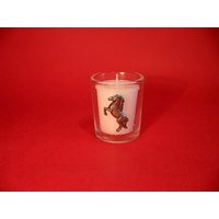 Rearing Pony Motif On Glass Votive Candle Holder Xmas Gift