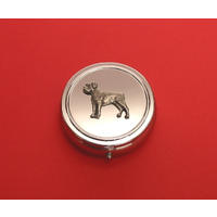 Boxer Dog Pewter Motif On Round Chrome Mint / Pill Box