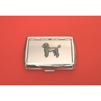 Poodle Motif on Polished Stainless Steel Tobacco Tin