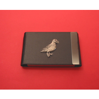 Puffin Pewter Motif on Black Card Holder Christmas Gift