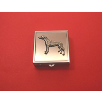 Greyhound Motif On Sq. Mint / Pill Box With Vanity Mirror