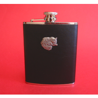 Long Haired Cat 6oz Black Leather Hip Flask Cat Gift