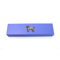 Poodle Dog Motif on Violet Blue Wooden Pen Box with 2 Pens