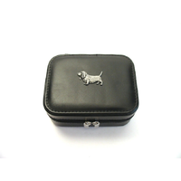 Basset Hound Design Small Black Travel Jewellery Box