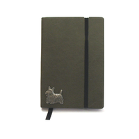 Scottish Terrier A6 Olive Green Journal Notebook Dog Gift