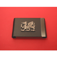 Dragon Pewter Motif on Black Card Holder Christmas Gift