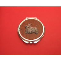 Scottish Terrier on Brown Round Compact Mirror Useful Gift