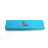 West Highland Terrier Motif on Turquoise Wooden Pen Box