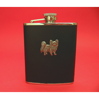Papillion Dog 6oz Black Leather Hip Flask Dog Gift