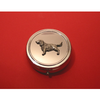 Springer Spaniel Pewter Motif On Round Chrome Mint / Pill Box