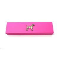 Patterdale Terrier Motif on Pink Wooden Pen Box with 2 Pens