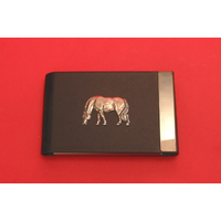 Grazing Pony Pewter Motif on Black Card Holder