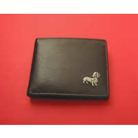 Dachshund Design Real Leather Dark Brown Wallet Gents Gift