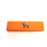 Border Terrier on Apricot Wooden Pen Box with 2 Pens
