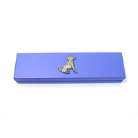 Jack Russell Terrier on Violet Blue Wooden Pen Box with 2 Pens