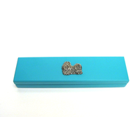 Shih Tzu Motif on Turquoise Wooden Pen Box with 2 Pens