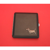 Basset Hound Motif on Black Faux Leather Cigarette Case