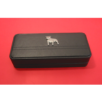 Staffordshire Bull Terrier Motif on Black Faux Leather Pen Box W