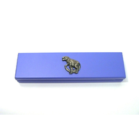 Dinosaur T Rex Motif on Violet Blue Wooden Pen Box with 2 Pens