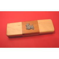 Scottish Terrier on Wooden Pen Box with 2 Pens